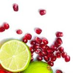 AeromatiCo automatic composter - clean and simple composting. Pomegranate seeds and limes.